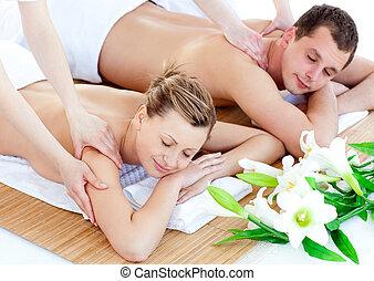 coppia, godere, charmant, massaggio posteriore, giovane