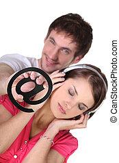 coppia, godere, nuovo, tecnologie