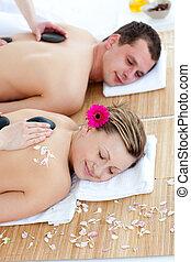 coppia, godere, pietra, massaggio posteriore, giovane