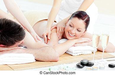coppia, godere, positivo, massaggio posteriore, giovane