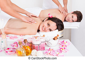 coppia, godere, tessuto, massaggio posteriore