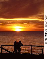 coppia, godere, tramonto