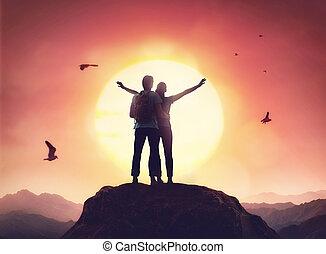 coppia, guardando, sunset.