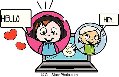 coppia, illustrazione, vettore, video, chiamata, cartone animato