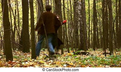 coppia, in, autunno, parco