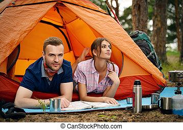 coppia, in, campeggio