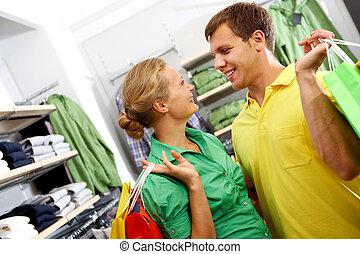 coppia, in, il, negozio