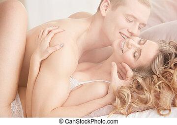coppia, in, intimo, posizione