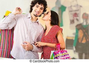 coppia, in, mall