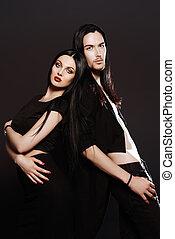 coppia, in, nero