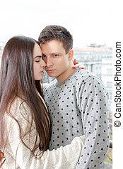 coppia, in, passione, abbracciare, naso naso