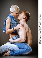 coppia, in, passione