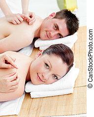coppia, indietro, charmant, ricevimento, caucasico, massaggio