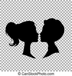 coppia, isolato, fondo., silhouette, nero, trasparente, amare