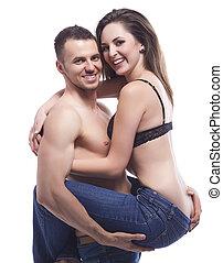 coppia, jeans, giovane, monokini, abbracciare, sexy