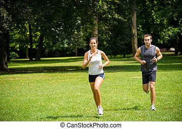 coppia, -, jogging, insieme, giovane, correndo