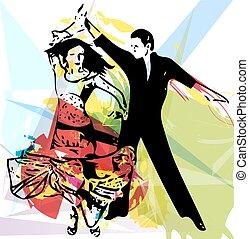 coppia, latino, ballo