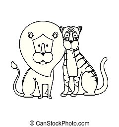 coppia, leoni, caratteri, africano