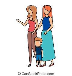 coppia, lesbica, figlio