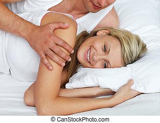 coppia, letto, intimo