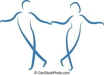coppia, logo., ballo