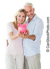 coppia, loro,  piggy, esposizione, banca, Felice