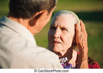 coppia, love., parco, fuori, anziano, felice