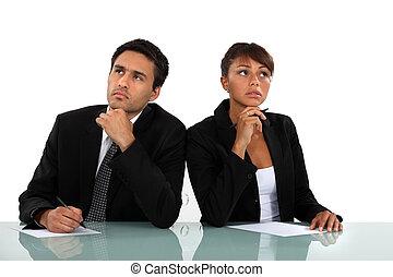 coppia, malinconico, affari