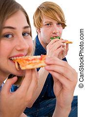 coppia, mangiare, adolescenti, pizza