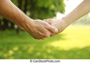 coppia, mani, amore, due, natura
