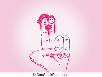coppia, mano, w, matrimonio, disegnato, cartone animato