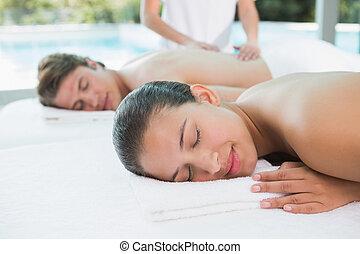coppia, massaggio, godere