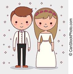coppia, matrimonio, cartone animato, icona