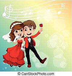 coppia matrimonio, festeggiare, con, note musica, in, fondo