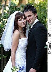 coppia, matrimonio, fuori