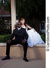 coppia, matrimonio, multirazziale, americano, forties, ...