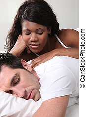 coppia mescolata, letto