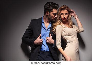 coppia, moda, proposta, giovane, insieme.