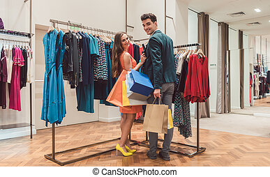 coppia, moda, shopping, boutique, insieme