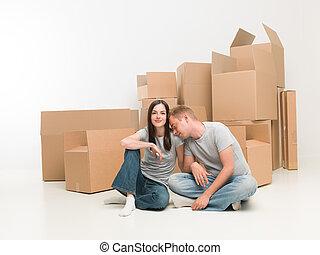 coppia, muoversi dentro, casa