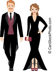 coppia nera, sera, moda, vestiti