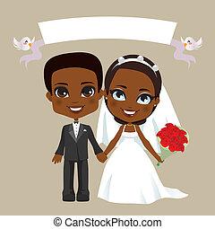 coppia, nero, matrimonio