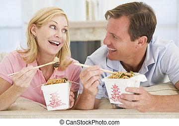 coppia, ora pasto, insieme, mangiare, takeaway, pasto