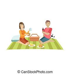 coppia, palla, picnic, football