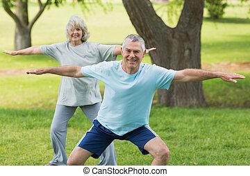 coppia, parco, esercitarsi, maturo, sorridente