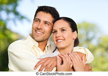 coppia, parco, felice