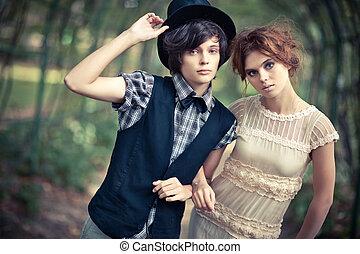 coppia, parco, giovane