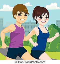 coppia, parco, jogging