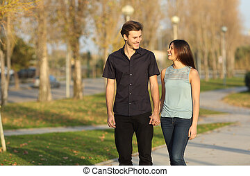 coppia, parco, presa, passeggiata
