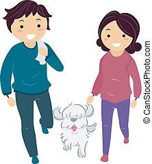 coppia, passeggiata cane